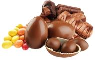 Шоколадные батончики, паста, яйца, драже